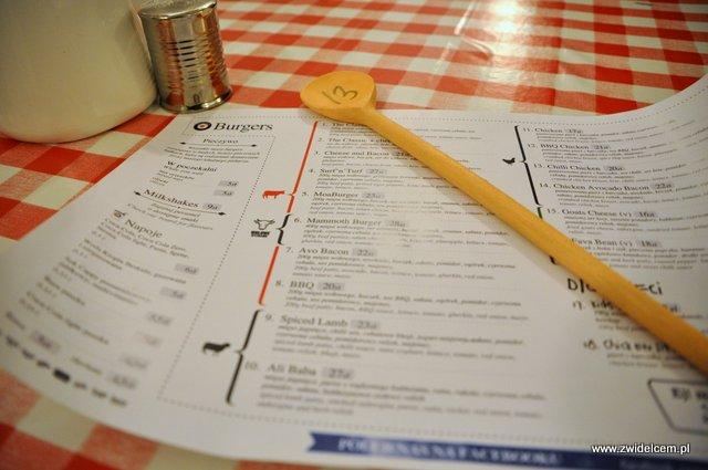 Kraków - Moaburger - menu