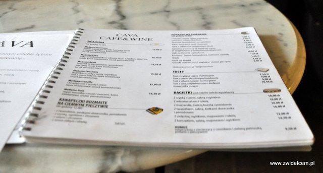 Kraków - Cava - menu