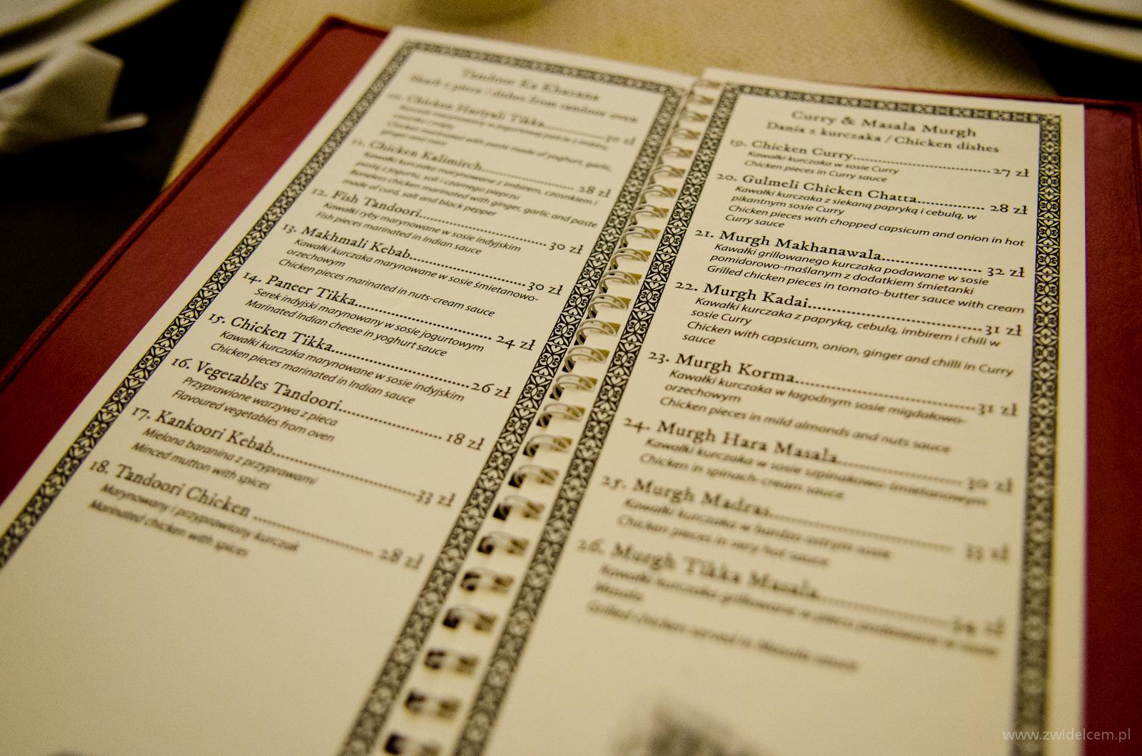 Kraków - Ganesh - menu