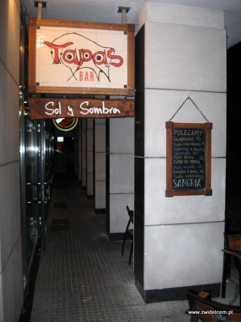 Warszawa - Sol y Sombra - Tapas Bar menu