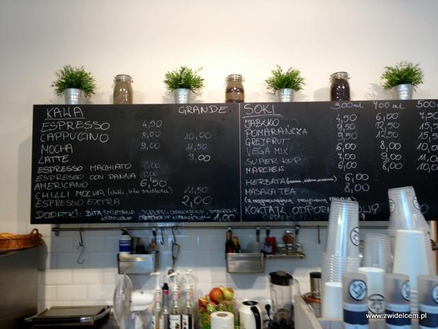 Kraków - Coffee Club - menu kawa i soki