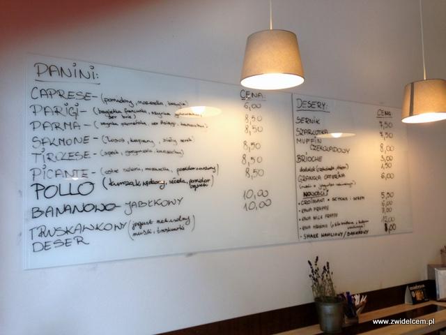 Kraków - Coffee Club - menu panini