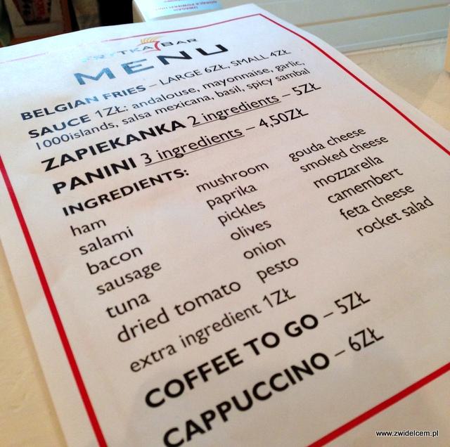 Kraków - Frytka Bar - menu papierowe