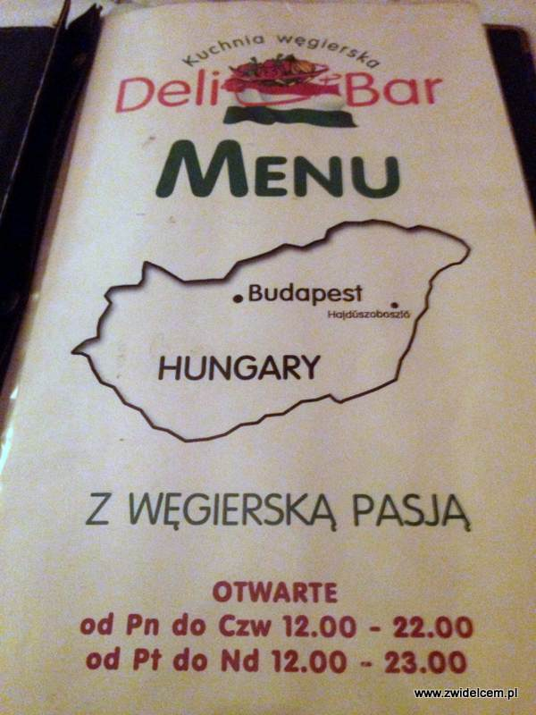 Kraków - Delibar - Menu