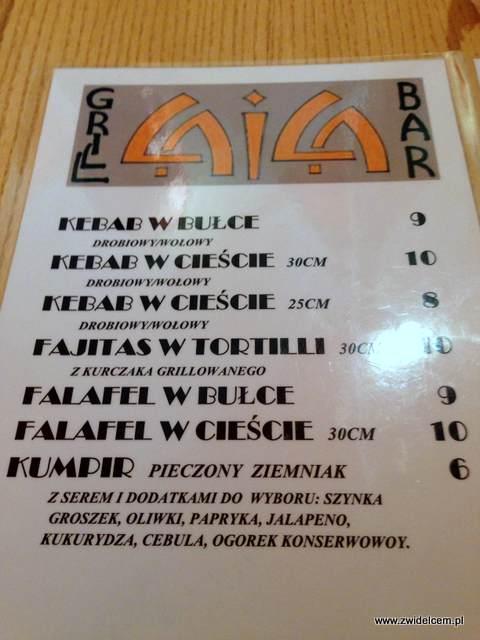 Kraków - Laila - menu