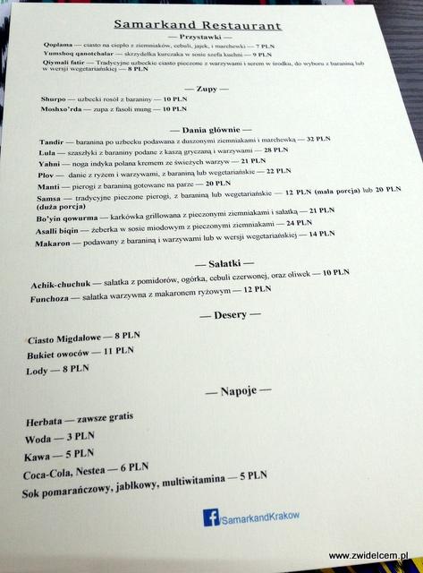 Kraków - Restauracja uzbecka Samarkand - menu