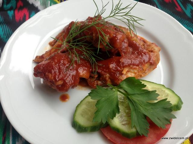 Kraków - Restauracja uzbecka Samarkand - skrzydełka z kurczaka w sosie szefa kuchni