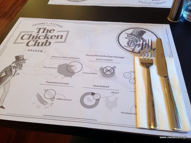 Kraków - The Chicken Club - podkładka z info o kurczakach
