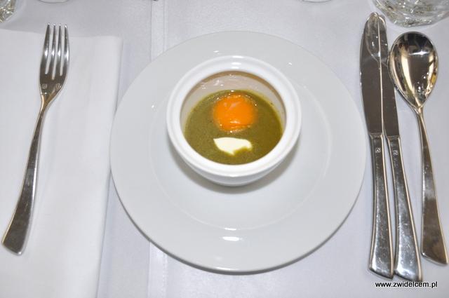 Kraków – Barka – Kolacja z Twój Kucharz – zupa szczawiowa z kaczym jajkiem