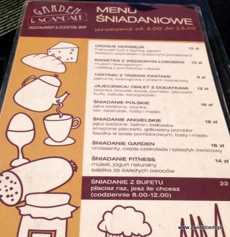 Kraków - Le Scandale - menu śniadaniowe