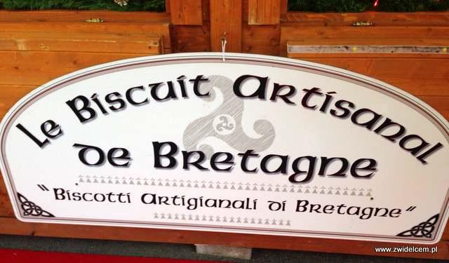 Bergamo - Villaggio Di Natale - jarmark bożonarodzeniowy - ciastka z Bretanii szyld