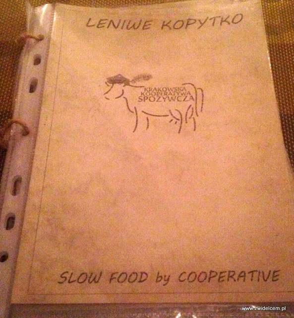 Kraków - Leniwe Kopytko - okładka menu