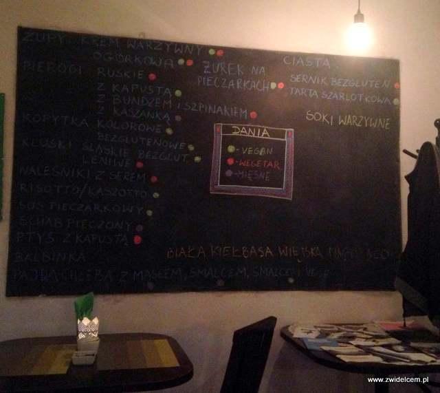 Kraków - Leniwe Kopytko - menu na tablicy