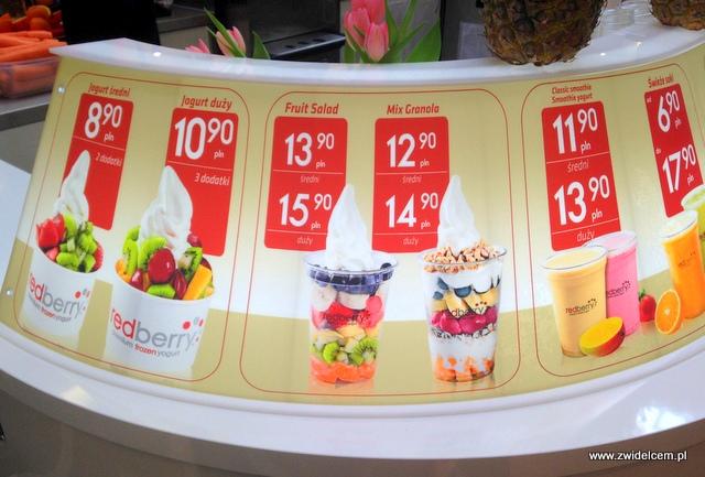 Kraków - RedBerry - stoisko w Galerii Krakowskiej - menu