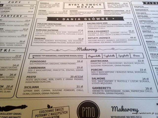Kraków - Pino - menu