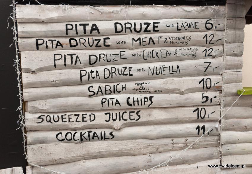 Kraków - Pita Druze - menu