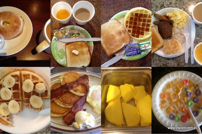 USA - Stany Zjednoczone Ameryki - śniadania - tosty - bajgle - jaja - kawa - gofry