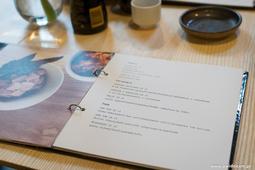 Kraków - Nago Sushi & Sake - Menu z bliska