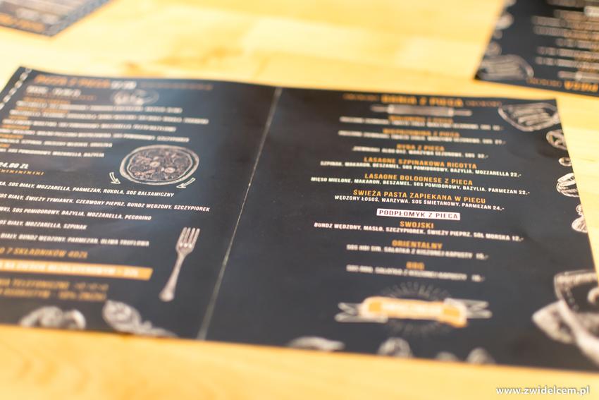 Kraków - Piec na Zabłociu - menu