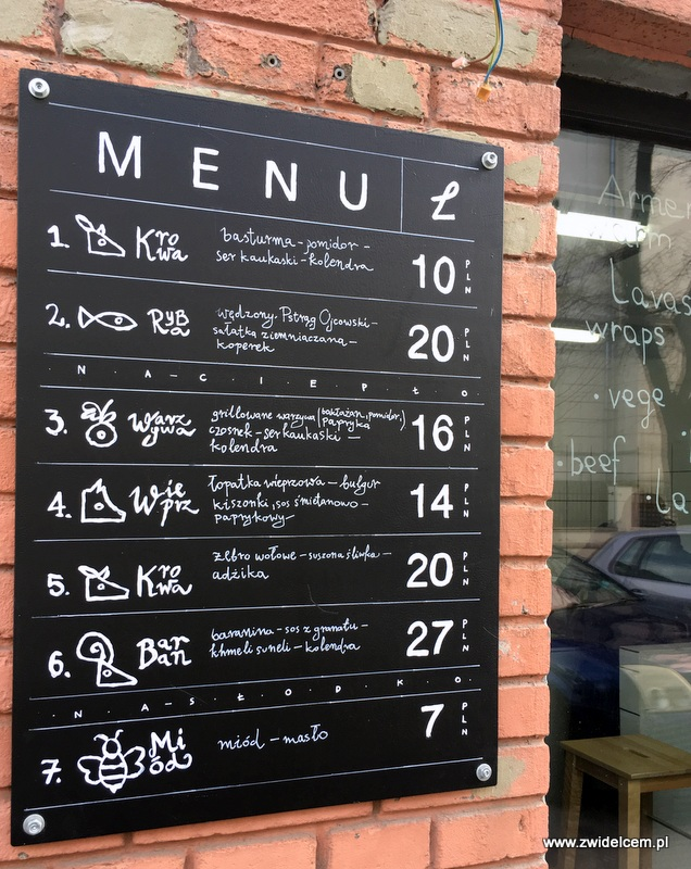 Kraków - Lavash Bar - menu